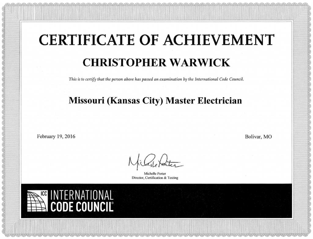 Master Electrician Certificate